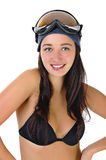 Happy young woman in underwear in the goggles Stock Photo