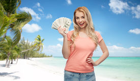 Happy young woman with usa dollar cash money Royalty Free Stock Image