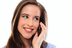 Happy Young Woman Using Cellphone Royalty Free Stock Photos