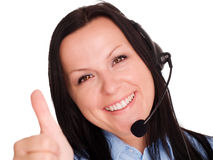 Happy young woman using headphone Royalty Free Stock Photo