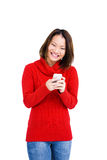 Happy young woman using mobile phone. Portrait of happy young woman using mobile phone on white background Royalty Free Stock Photos