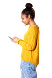 Happy young woman with using mobile phone Stock Photos