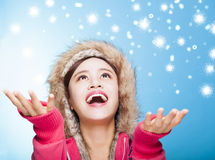 Happy young woman watching winter snow Royalty Free Stock Photos