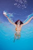 Happy young woman in the water Royalty Free Stock Photo