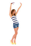 Happy young woman waving hands. Stock Photo