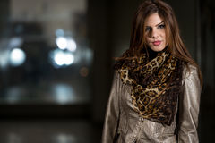 Happy Young Woman Wearing A Beautiful Scarf Royalty Free Stock Photography