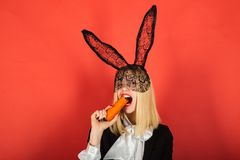 Happy young woman wearing bunny ears and having Easter Eggs. Smile easter. stock images