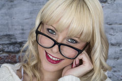 Happy Young Woman Wearing Glasses Royalty Free Stock Images