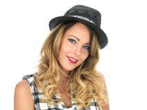 Happy Young Woman Wearing a Hat Royalty Free Stock Image