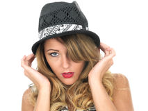 Happy Young Woman Wearing a Hat isolated white background portrait Stock Image