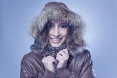 Happy young woman wearing winter Royalty Free Stock Images