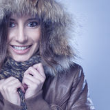 Happy young woman wearing winter Stock Photos