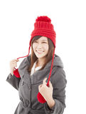 Happy young woman wearing winter coat Royalty Free Stock Image