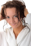 Happy young woman with wet hairs Royalty Free Stock Image
