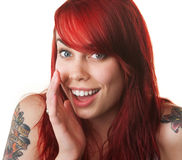 Happy Young Woman Whispering royalty free stock photos