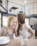 Happy young woman whispering into female friend's ear in cafe Royalty Free Stock Photos