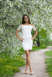 Happy young woman in white dress walking in spring park Royalty Free Stock Images