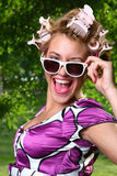 Happy young woman with white sunglasses Royalty Free Stock Photos