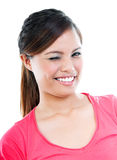 Happy Young Woman Winking Stock Photo