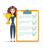 Happy young woman winner. With Cup trophy and diploma. victory sign Royalty Free Stock Images