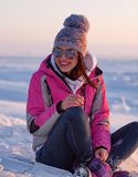 Happy young woman in winter Stock Images