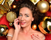 Happy young woman in winter christmas decoration ornament Royalty Free Stock Photos