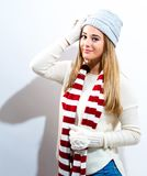 Happy young woman in winter clothes Royalty Free Stock Photography