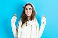 Happy young woman in winter clothes Royalty Free Stock Image
