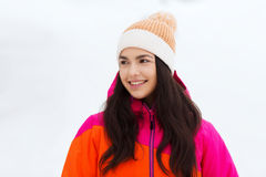 Happy young woman in winter clothes outdoors Royalty Free Stock Image
