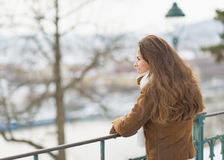 Happy young woman in winter park looking into distance Royalty Free Stock Photography
