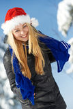 Happy young woman at winter Stock Photography