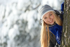 Happy young woman at winter Stock Photos