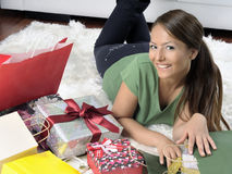 Free Happy Young Woman With Gift Boxes Royalty Free Stock Image - 21266626