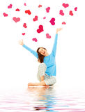 Happy Young Woman With Hearts Stock Photography