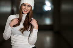 Happy Young Woman In Withe Hat Royalty Free Stock Photos