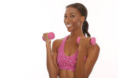 Happy Young Woman Working Out and Doing Fitness Activities Stock Images