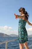Happy young woman on yacht Royalty Free Stock Images