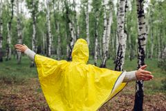 Happy young woman in yellow raincoat walking in spring forest under rain and having fun raising arms royalty free stock photos