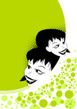 Happy young women. An illustrated view of the heads of two happy, young women on an abstract green and white background Stock Photos