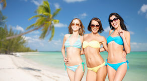 Happy young women in bikinis on summer beach Royalty Free Stock Image
