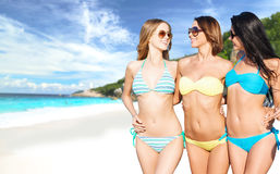 Happy young women in bikinis on summer beach Royalty Free Stock Images