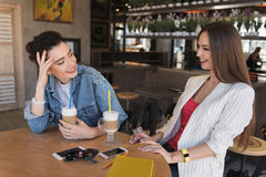 Happy young women discussing something in a cafe Royalty Free Stock Images
