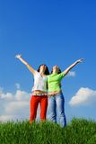 Happy young women dreams to fly on winds Royalty Free Stock Image