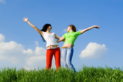 Happy young women dreams to fly on winds Royalty Free Stock Photography
