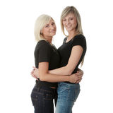 Happy young women friends laughing Royalty Free Stock Photos