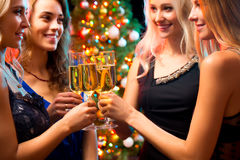 Happy young women with glasses of champagne Stock Image