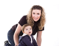Happy young women with her son Stock Photography