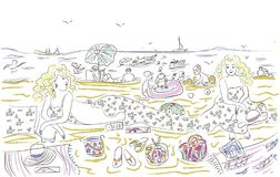 Happy young women relaxing on the beach by the sea. Two young women are resting on the beach by the sea.Group of friends enjoying a summer day. Women and stock illustration