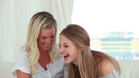 Happy young women talking to each other stock footage