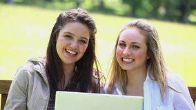 Happy young women using a laptop. In a park stock footage
